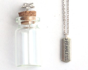 Fearless Necklace, Fearless Mantra Charm, Necklace with a tiny glass bottle, Graduation Gift, Party Favors, 16th Birthday Party Favor