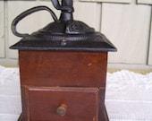 Vintage Wooden Tabletop Coffee Grinder, Hand Crank Coffee Mill