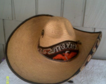 Vintage Mexican Straw Sombrero Hat with Embroidery d0cbf5e6c65
