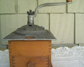 Antique Dovetailed Table Top Coffee Grinder, Hand Crank Coffee Grinder