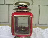 Vintage Red Lantern Oil Lamp, Made in Hong Kong, Small Oil Lamp