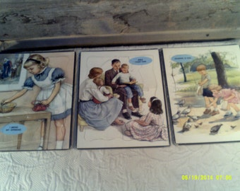 Three Vintage Childrens Cardboard Bible Puzzles, Childrens Religous, Sunday School Puzzles, Juvenile Puzzles, Vintage Kids Puzzles