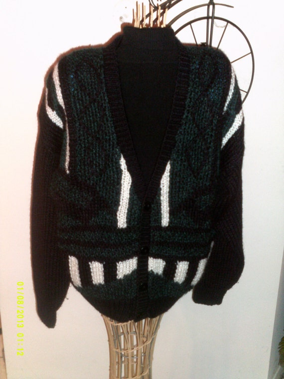 Mens Vintage Justin Blake V Neck Cardigan Sweater Size Large Etsy