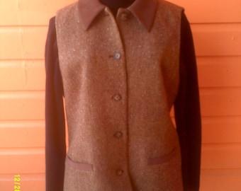 Woman's Vintage Tweed Wool Vest, size 10, by Talbots, Winter Vest 10, Womans Wool Vest, Button Down Vest 10, Womens  Vests 10, Talbots Vest