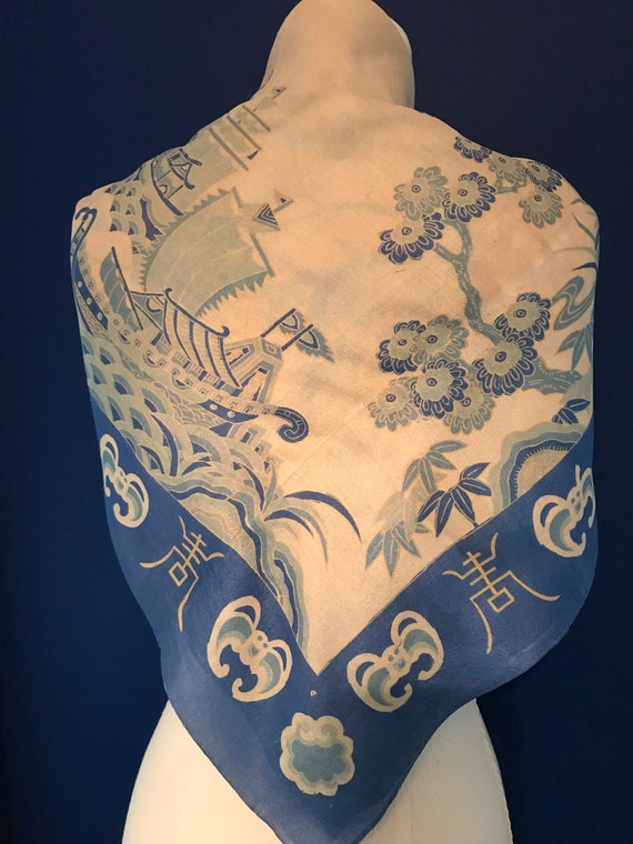 40's/50's Blue Silk Scarf - image 3