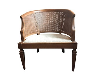 Mid-Century Wood & Cane Barrel Chair