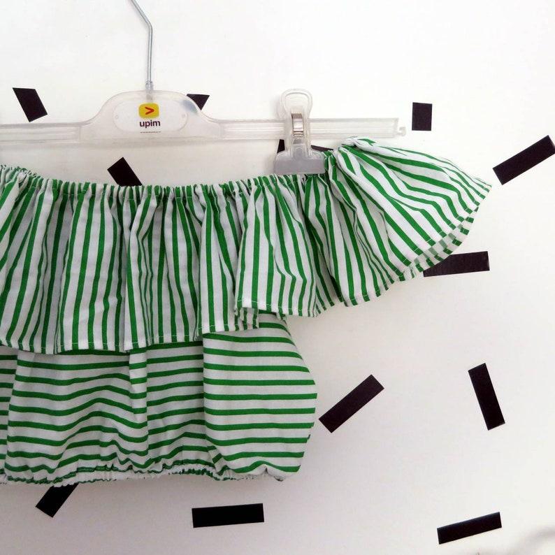 Handmade Stripes  Shoulder Off Crop Top One size S-M-L
