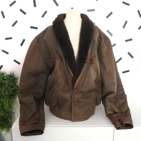 Vintage 80s Genuine Brown  Leather Shearling Jacke