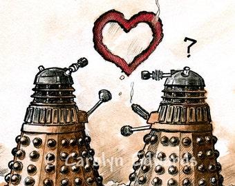 Valentine's/Wedding Geeky themed card  - 'Dalek Heart'