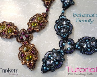 Tutorial for beadwoven necklace 'Bohemian Beauty' - PDF beading pattern - DIY