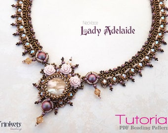 Tutorial for beadwoven necklace 'Lady Adelaide' - PDF beading pattern - DIY