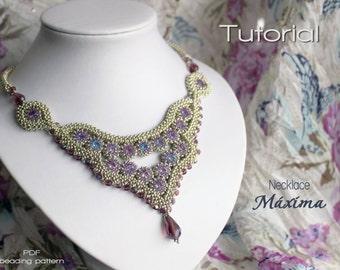 Tutorial for beadwoven necklace 'Máxima' - PDF beading pattern - DIY