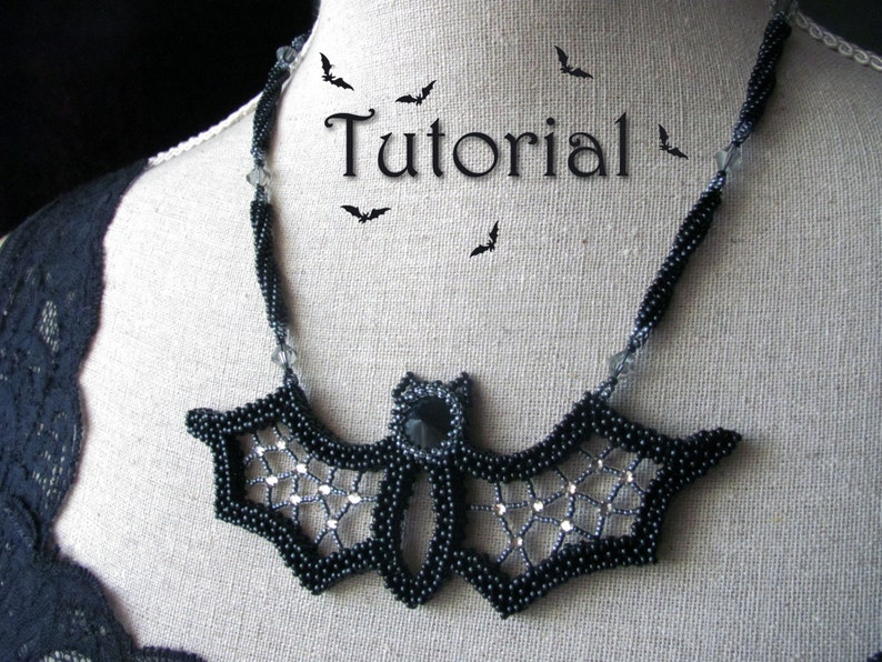 Tutorial for beadwoven necklace 'Blingy the Bat'  image 0