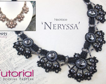 Tutorial for beadwoven necklace 'Neryssa' - PDF beading pattern - DIY