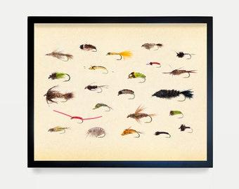 Fly Fishing - Colorful Fishing Lures  - Art Print - Fishing Poster - Fishing Art - Fishing Lures - Fishing Decor - Fishing Wall Art - Canvas