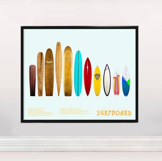 3a9fe1aae1 Evolution of the Surfboard - Surf Art - Surf History - Surf Poster - Surfer  - Beach - Ocean - Wave - Curl - Surf Gift- Hawaii - Vintage Surf