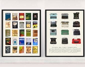 Literary Poster - Great American Novels - Writers and their Typewriters - Typewriter Poster - Typewriter Art - Literary Art - JD Salinger