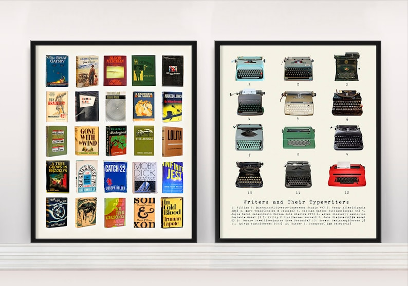 Literary Poster  Great American Novels  Writers and their image 0