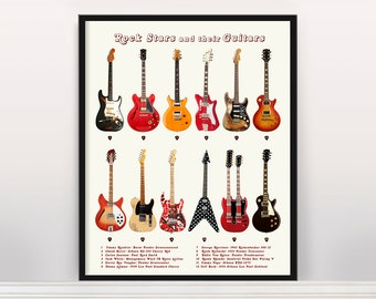 Rock Stars and their Guitars - Electric Guitar - Rock n Roll - Guitar Art - Guitar Poster - Fender - Fender Patent - Fender Guitar - Gibson
