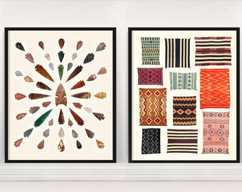 Native American Typologies - Navajo Rugs - Arrowheads - Spearheads - Tapestry - Native American Poster - American Indian Art - Native Print