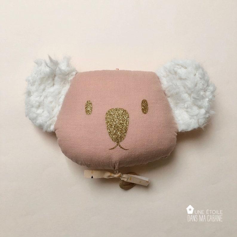 Mobile Musical Koala en gaze de coton Rose Nude  Boite à image 0