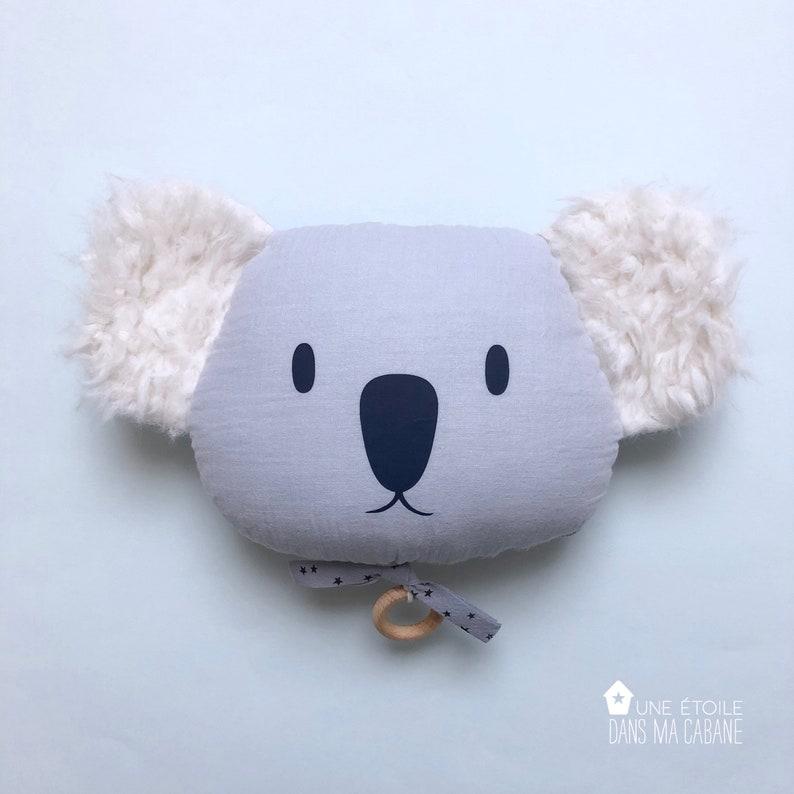 Mobile Musical Koala en gaze de coton Bleu Ciel  Boite à image 0