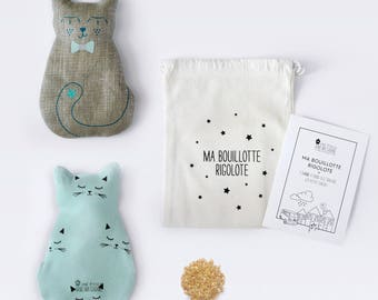 Ma Bouillotte Rigolote Chacha Lin Argent - Chat Mint - Hot water bottle flax seeds - A star in my hut