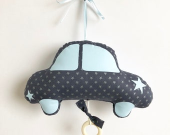 Mobile Musical Beetle Car Edgar Ink - Sky Blue - Music Box - A Star in My Cabin