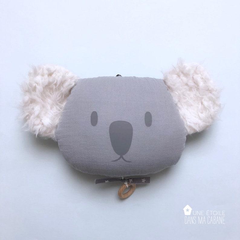 Mobile Musical Koala en gaze de coton Gris  Boite à musique  image 0