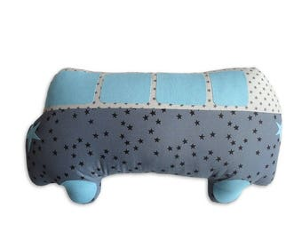 Combi car Arsène oil and Edgar Brume cushion / Turquoise - a star in my cabin