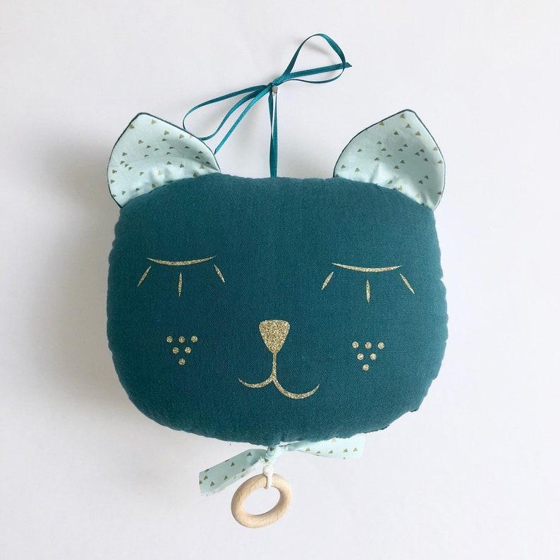 Mobile musical cat gauze cotton blue duck-Mint Golden image 0