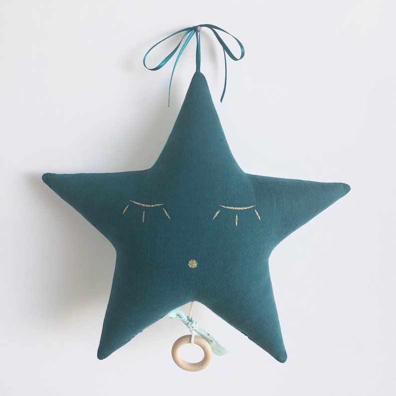 Musical mobile star in cotton gauze duck blue and mint with image 0