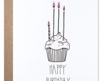 Pink Cupcake Birthday Card - Anniversary Stationery