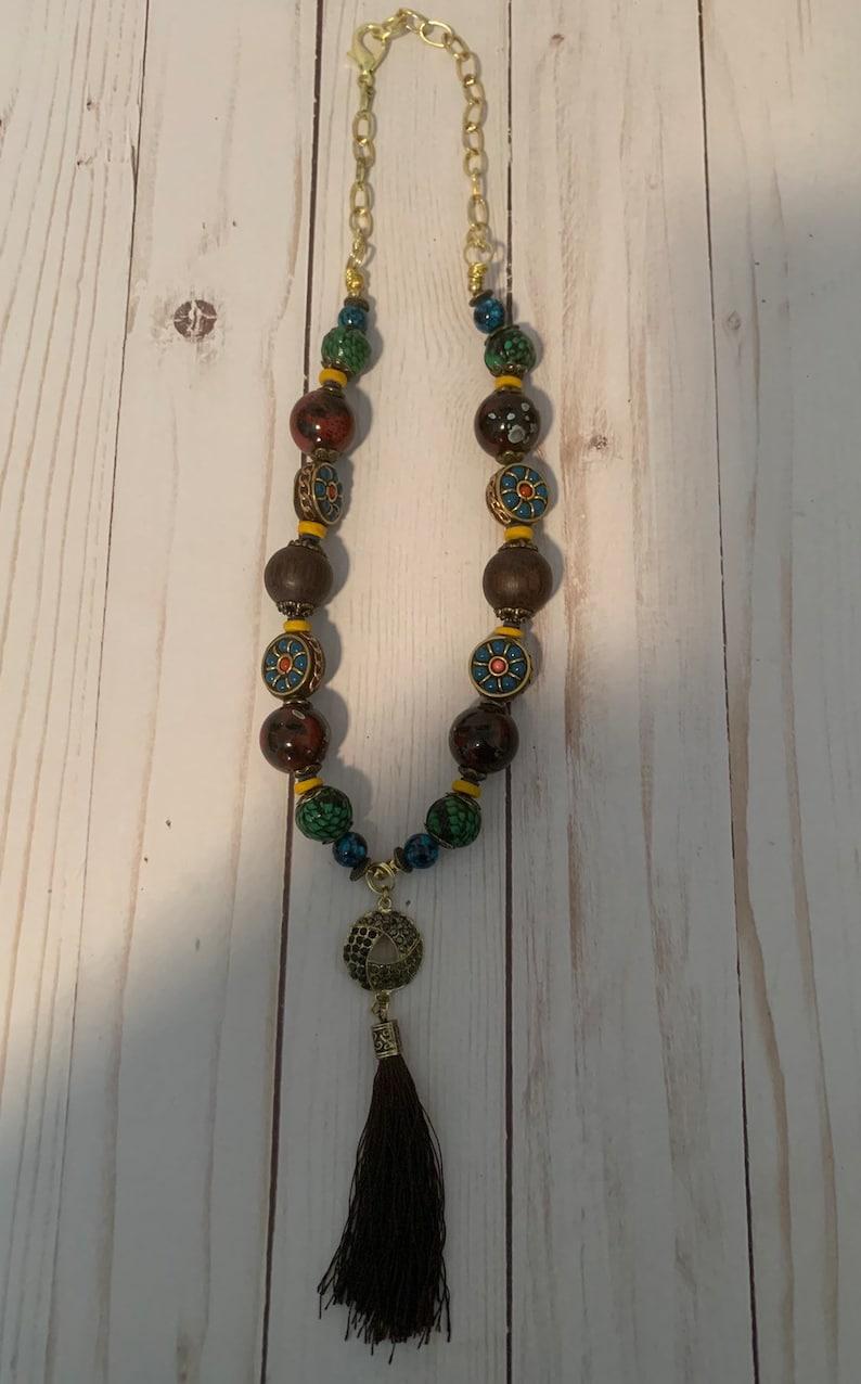 Beaded Tassle Statement Charm Necklace