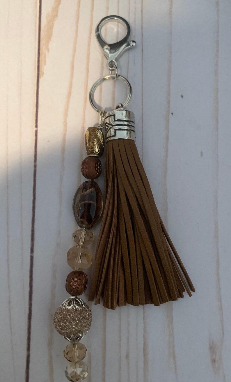 Beaded Tassel Purse CharmKey Chain