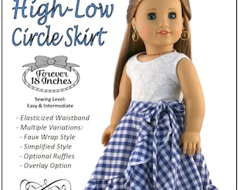 015db91d5f Pixie Faire Forever 18 Inches High-Low Circle Skirt Doll Clothes Pattern  for 18 inch American Girl Dolls - PDF