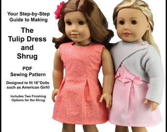 7c0559b94 Pixie Faire Dolls at Heart Designs Tulip Dress and Shrug Doll Clothes  Pattern Fits 18 inch American Girl® Dolls - PDF