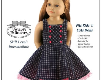 979bcc185a Pixie Faire Forever 18 Inches Geometry Class Dress   Jumper Doll Clothes  Pattern Designed to Fit Kidz N Cats® Dolls - PDF