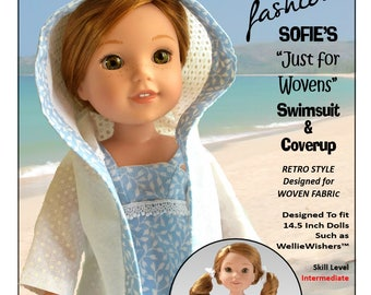 c4926e7526ea6 Pixie Faire Sofie Clareese Fashion Sofie's Just For Wovens Swimsuit Doll  Clothes Pattern for 14.5 inch Dolls Such As WellieWishers - PDF