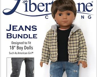 b0062c8da Pixie Faire Liberty Jane Boy Doll Jeans Bundle Doll Clothes Pattern for 18  inch American Girl Dolls
