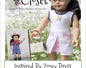 1b93c3105cc Pixie Faire Matilda s Closet Inspired By Zooey Dress Doll Clothes Pattern  for 18 inch American Girl Dolls - PDF