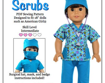 d4f84a25d5a Pixie Faire Love U Bunches Scrubs Outfit Doll Clothes Pattern for 18 inch  AG Dolls - PDF