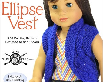 4e72b7ab6 Pixie Faire Doll Tag Clothing Ellipse Vest Doll Clothes Knitting Pattern  for 18 inch American Girl Dolls - PDF