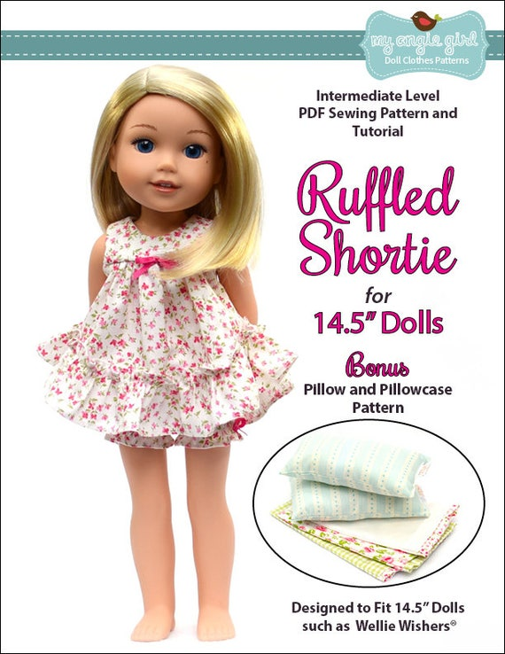 Pixie Faire My Angie Girl Ruffled Shortie Doll Clothes Etsy Adorable Wellie Wishers Clothes Patterns