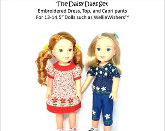 Pixie Faire Frog Princess Fashions Daisy Days Set Machine Embroidery Design for 13 to 14.5 Inch Dolls