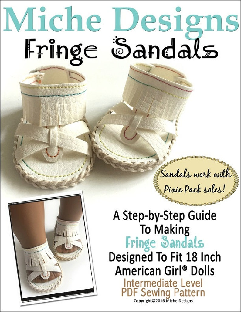 515b545660993 Pixie Faire Miche Designs Fringe Sandals Doll Shoe Pattern for 18 inch  American Girl Dolls - PDF