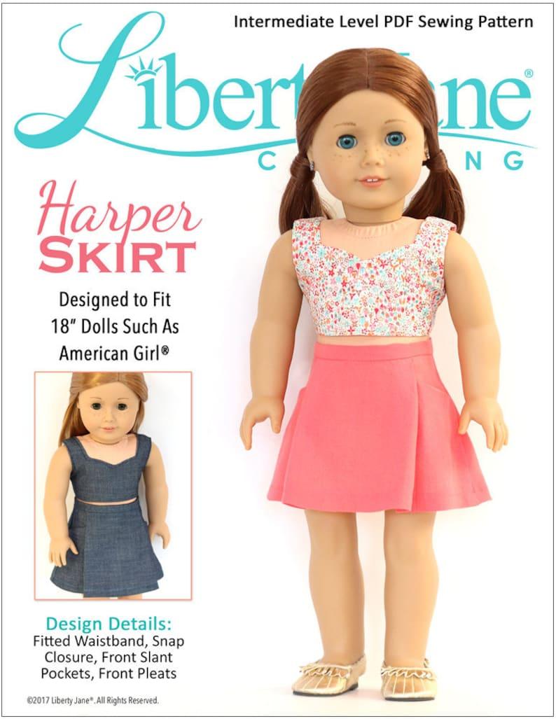 Pixie Faire Liberty Jane Harper Skirt Doll Clothes Pattern image 0