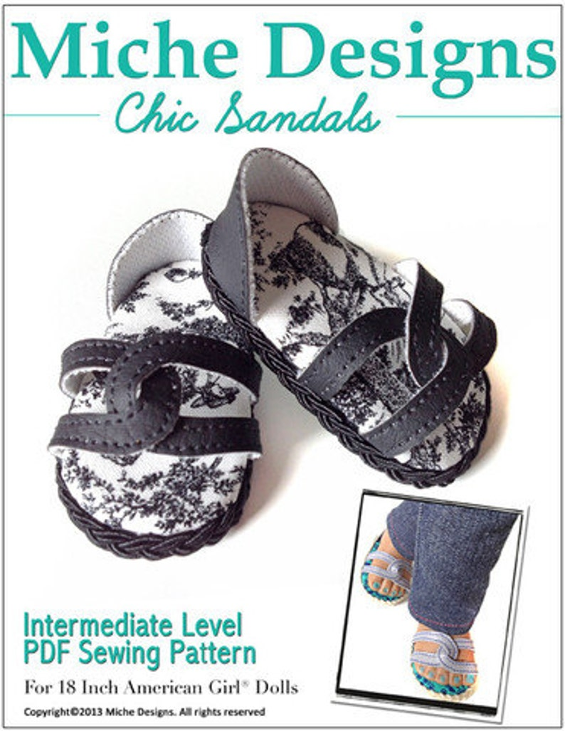 0608cf1f33a8f Pixie Faire Miche Designs Chic Sandals Doll Clothes Shoe Pattern for 18  inch American Girl Dolls - PDF