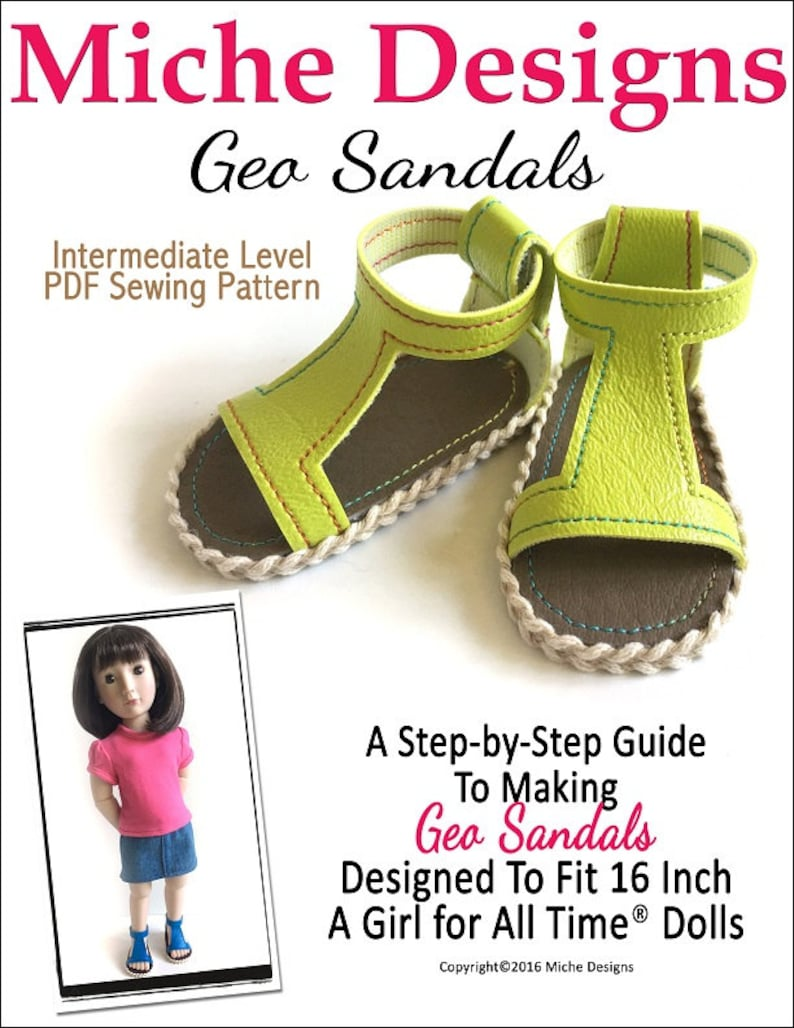 48b740ae5f5dd Pixie Faire Miche Designs Geo Sandals Doll Clothes Pattern for 16 inch A  Girl For All Time Dolls - PDF