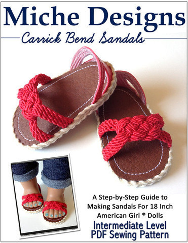 Pixie Faire Miche Designs Carrick Bend Sandals Doll Clothes Shoe Pattern For 18 Inch American Girl Dolls Pdf